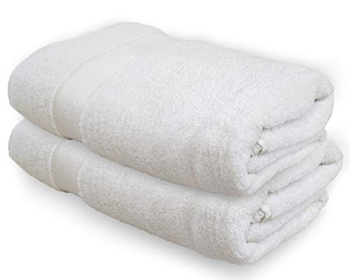 Durable 2 Pack,Blue Classic Collection Premium 100/% Organic Cotton Oversized Extra Large Bath Towels 34 X 60 Natural Ultra-Absorbent,Luxurious Rayon Trim,Embroidery Decorative Set